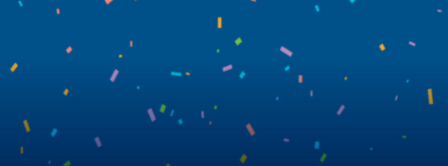 blue background covered with colorful confetti